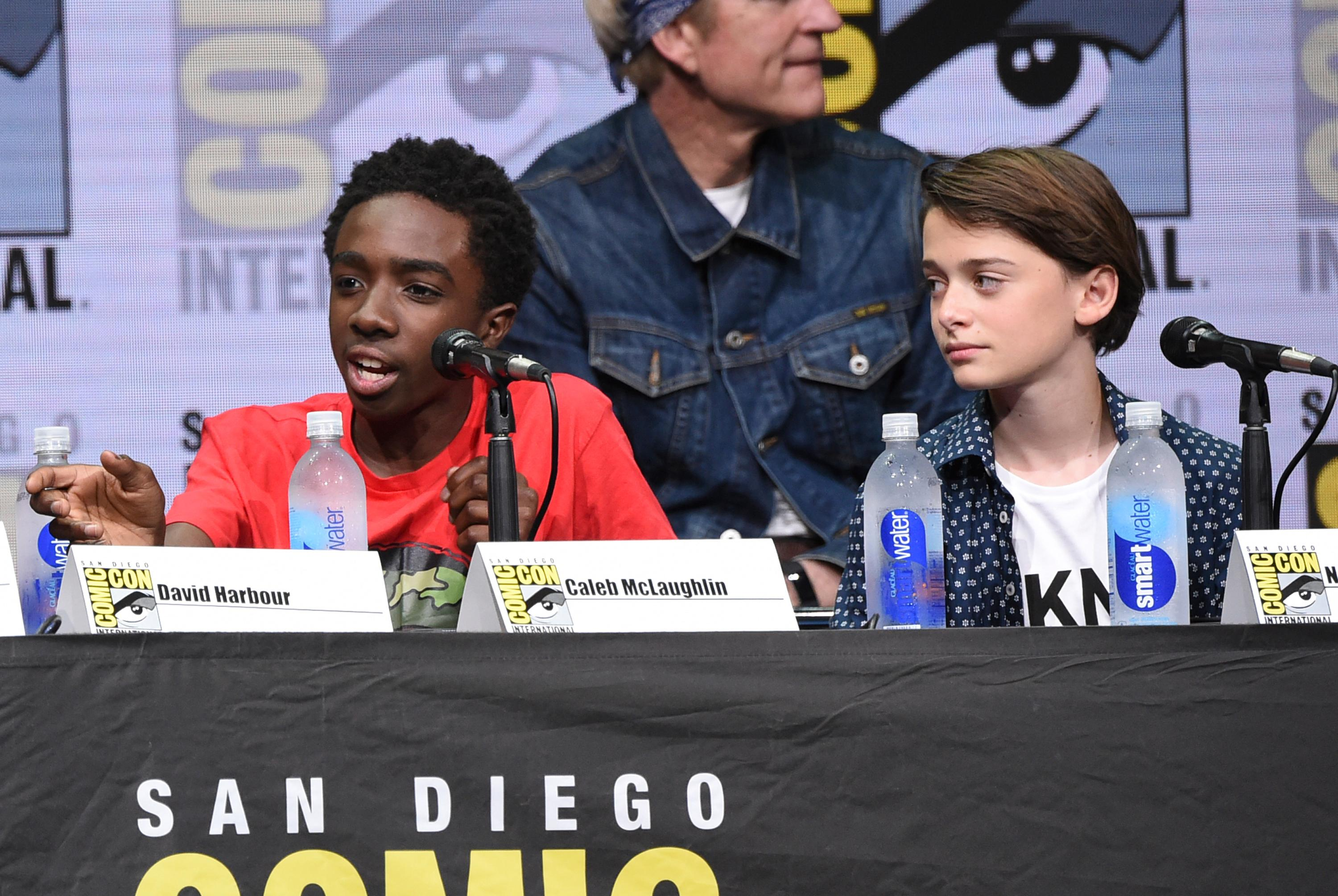 "Caleb McLaughlin, left, and Noah Schnapp attend the ""Stranger Things"" panel on day three of Comic-Con International on Saturday, July 22, 2017, in San Diego. (Photo by Richard Shotwell/Invision/AP)"