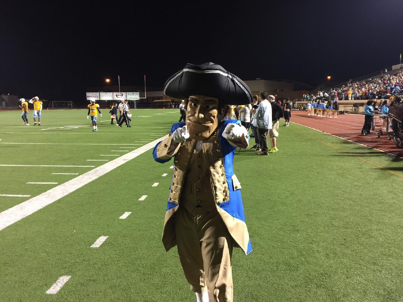 The Putnam City West High School mascot at the game against Choctaw on Friday, Nov. 4, 2016. (Scott Noland / KOKH)