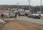 Emergency crews on the scene of a truck explosion in the village of Howard, Thursday, April 3, 2014. (WLUK/Ben Krumholz)